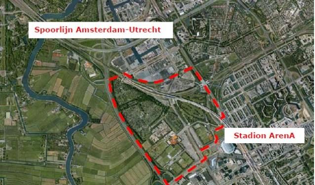 Luchtfoto met contouren plangebied De Nieuwe Kern.