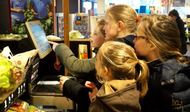 Leerlingen Eline, Anna, Sophie en Cleo wegen nauwkeurig hun gekochte komkommer.