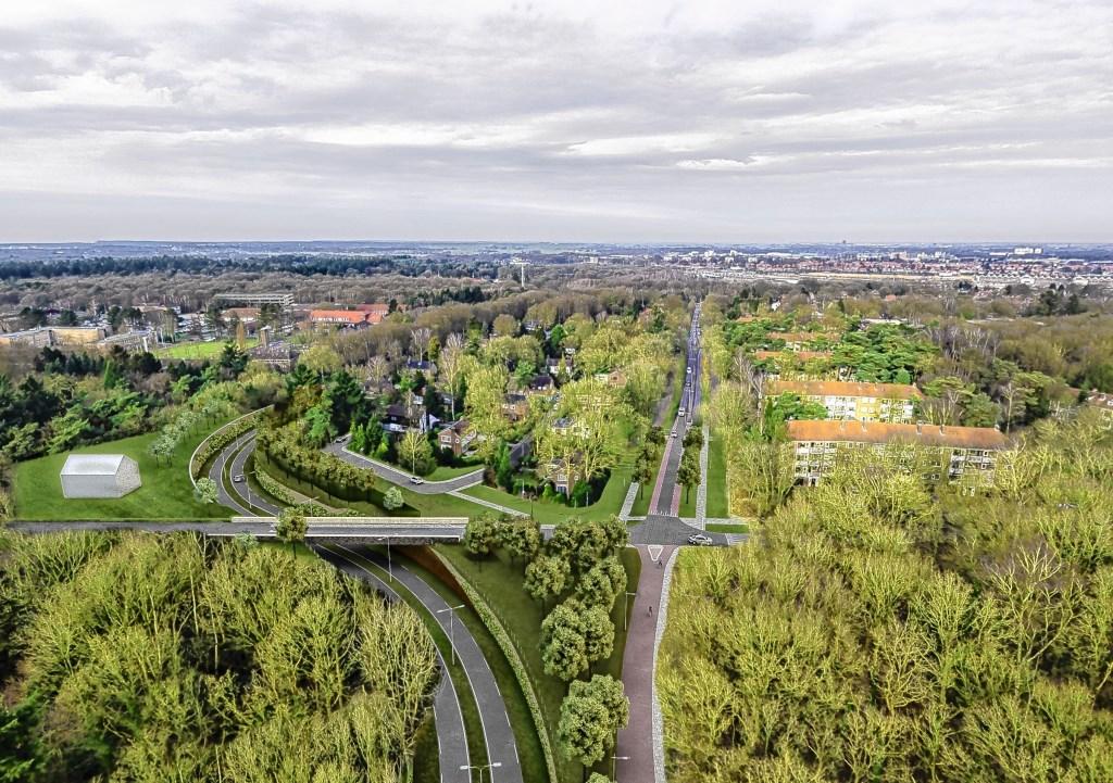 Artists impression van de 'westelijke ontsluiting', waarvoor in Birkhoven en de Bokkeduinen zo'n 3.000 bomen moeten wijken.  Stichting Regionaal Spitwerk © BDU media
