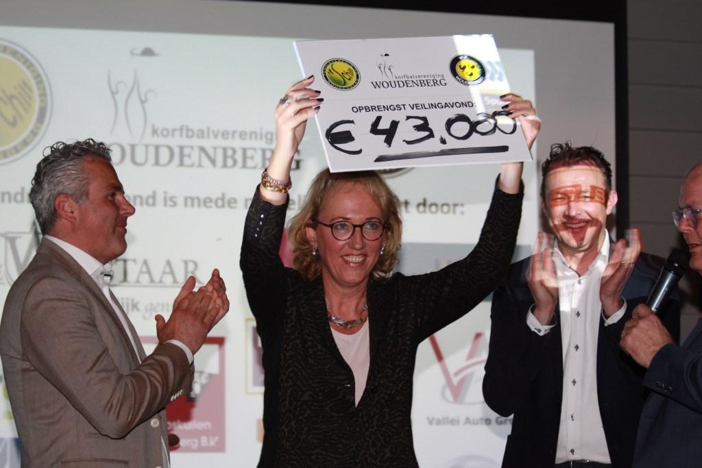 De fundraising voor drie Woudenbergse  sportverenigingen leverde 43.000  euro op.