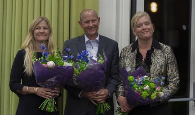 De drie nieuwe wethouders Annelies van der Have (HBB), Sjaak Struijf (PvdA) en Nicole Mulder (GroenLinks)