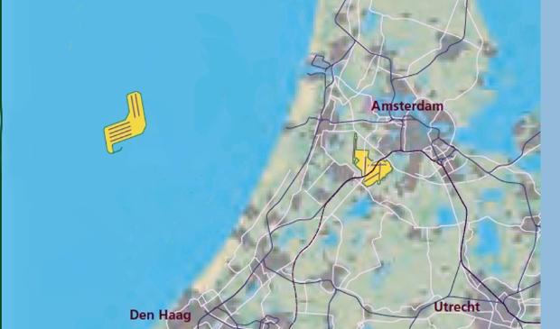 De door Flyland onderzochte opzet van een luchthaven in zee.