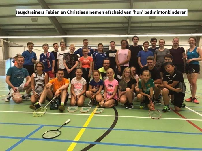 Jeugdtrainers Fabian en Christiaan nemen afscheid van 'hun' badmintonkinderen