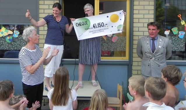Anita en Marian van kinderboerderij Dier en Wij zijn bijzonder blij met het geld dat de kinderen van Beurthonk hen schenken.