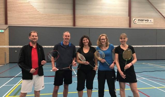 Ron van der Keur (secretaris), Jaap Teule (voorzitter), Barbara de Reijke (wethouder), Fenke van Rossum (beleidsmedewerker sport) en Nicolette van Kooten (algemeen bestuurslid).