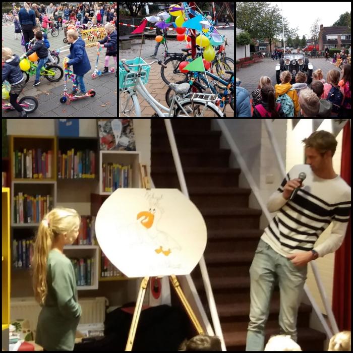 Thijmen Gijsbertsen en Aniek Heidekamp openen de schoolbieb van De Pelikaan