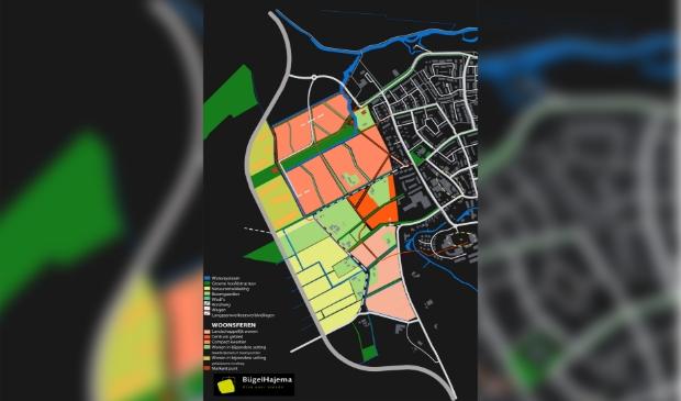 Het oude plan voor 1000 woningen ten westen van Odijk (juni 2010). Het nieuwe plan zal de komende jaren vorm krijgen.