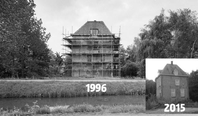 Vuylcop in de steigers in 1996 en na afloop.
