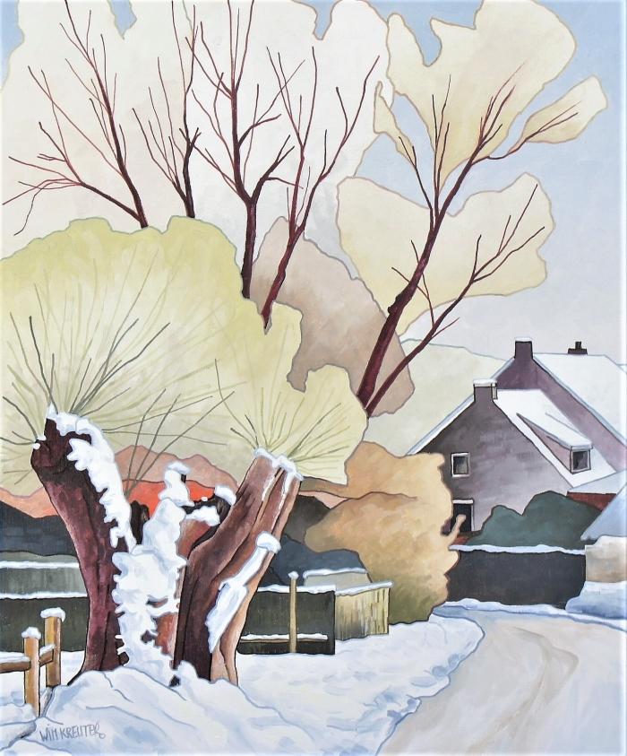Winter, een schilderij van Wim Kreuter
