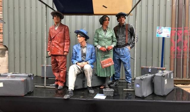 De Edese Statuegroep Coulisse zondag tijdens het regenachtige WK in Arnhem.