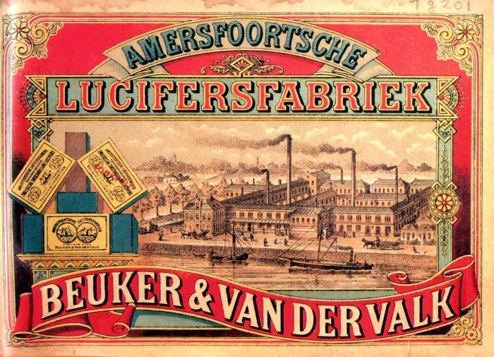 1885 Op het Pak-etiket van Stoomluciferfabriek Beuker & van der Valk ( later Warner Jenkinson) wordt een enorm fabriekscomplex afgebeeld met vele schoorstenen