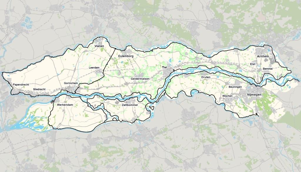 Een overzicht van de rivierdijken in beheer van Waterschap Rivierenland. Krom, Jelmer © BDU media