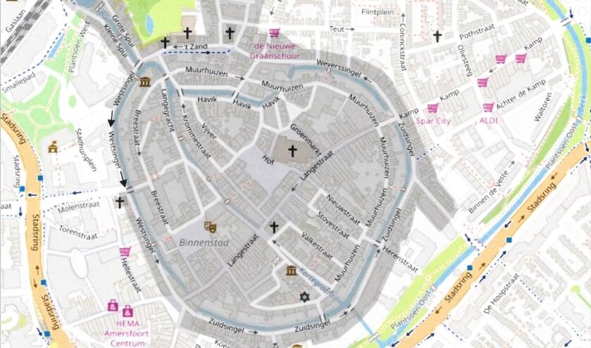 De geplande autoluwe binnenstad; het donker gekleurde gedeelte wordt autoluw en misschien ook scooterluw.