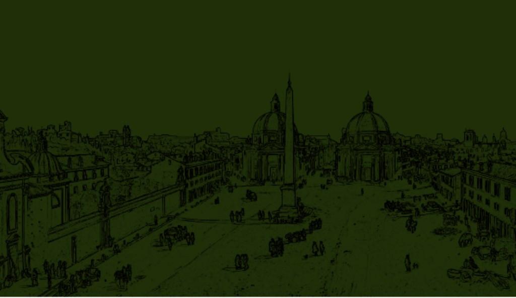 Lijntekening van Veduta di Piazza del Popolo. Caspar van Wittel © BDU media