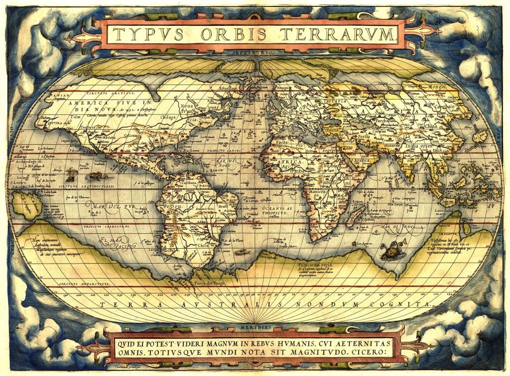 Wereldkaart uit de Ortelius atlas Aniquariaat Molendijk © BDU media