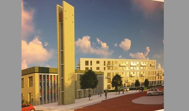 Impressie van hoe het wooncomplex bij de kerk er volgens de plannen uit zou moeten gaan zien.