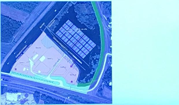 Situatieschets van bedrijventerrein met boven gepland zonnepark