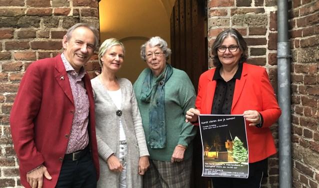 """(v.l.n.r.) Teun Kruijswijk Jansen, Gina Peters, Betty Engelhard en Sjaan Veenhof: ,,Iedereen is tweede kerstdag welkom."""""""