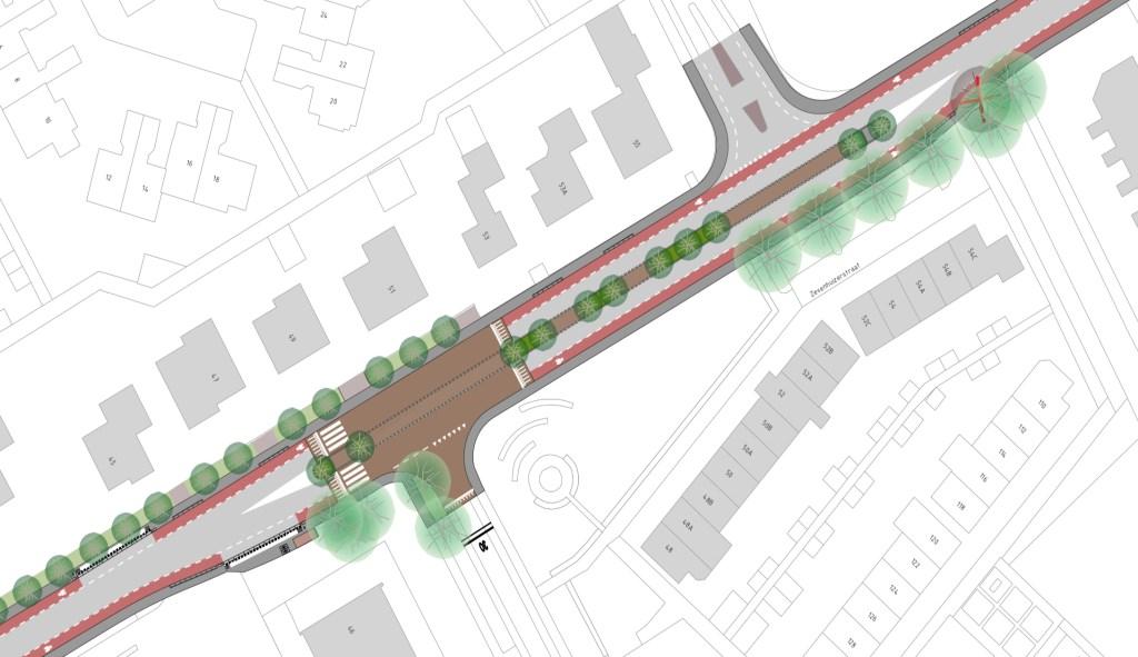 Kruispunten Bieshaarlaan en Sportlaan.  Gemeente Amersfoort  © BDU media