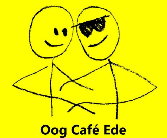 logo Oogcafé: twee mensen die elkaar omarmen waarvan één met een zonnebril