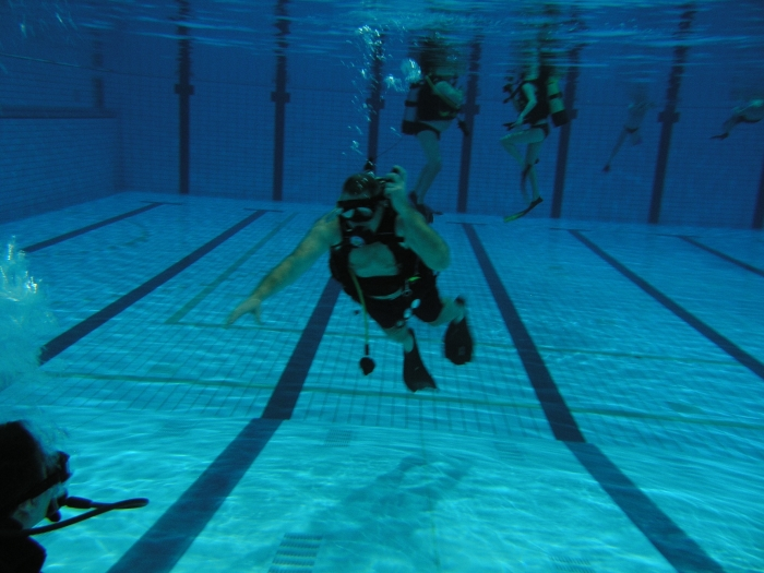 Cursist onder water.