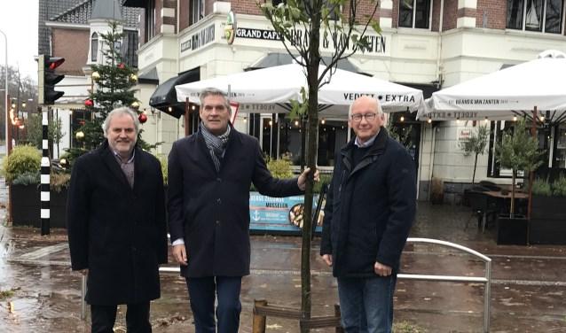 Bram Brinkman, Burgemeester Naafs en Loek Bosman poseren naast de boom
