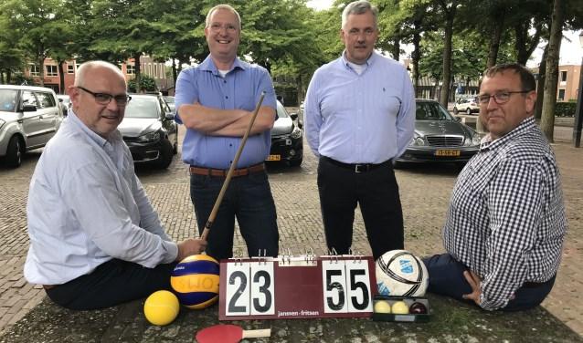 De Puttense Sport Federatie bij de oprichting in 2018 (vlnr): Geert Hoogerduijn (secretaris), Albert de Bruin (algemeen lid), Harm Baarslag (voorzitter) en Gert Timmer (penningmeester).