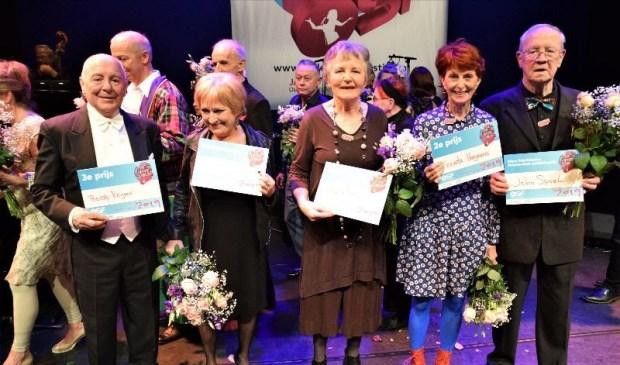 De winaars v.l.n.r. Berry Reijnen, José van Waveren, Heleen Butijn, Trienke Hoogenberg, John Spoel.