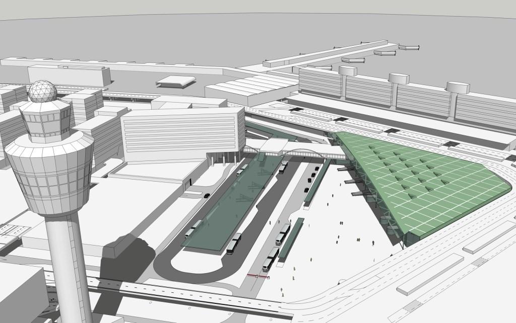 Impressie van het toekomstige busstation in eilandvorm. Schiphol Group © BDU media