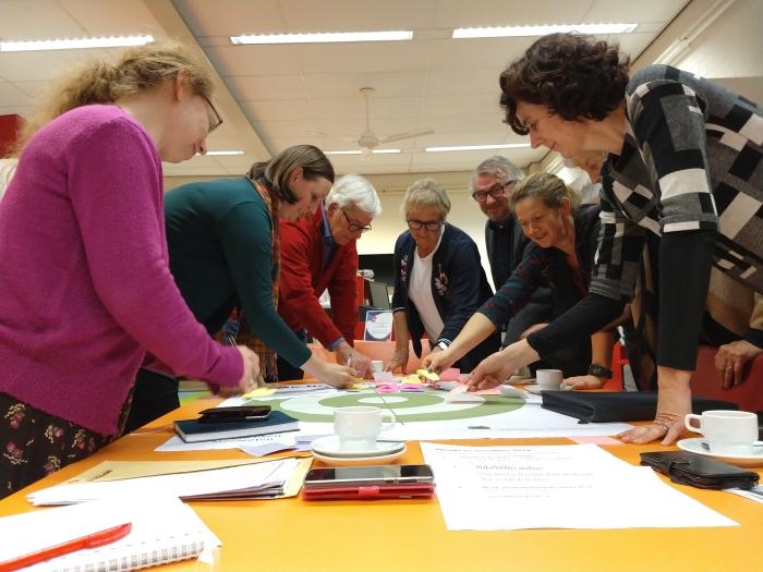 Deelnemers bezig met een stakeholderanalyse van betrokken partijen