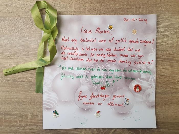 Kerstkaart van Voedselbankklanten in Leusden voor de Vrijwilligers