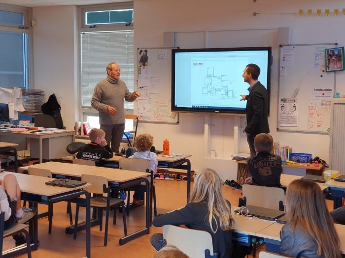 De architecten leggen uit aan de klas