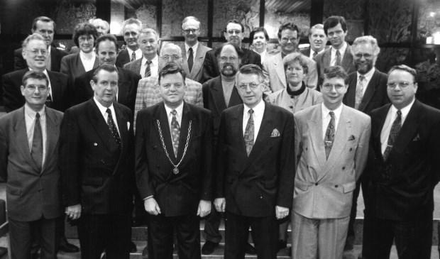 Archieffoto: Wethouder Jaap van de Steege links van burgemeester Borgman.