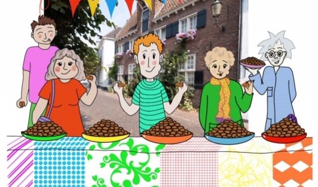 Een illustratie uit het boek met de feesttafel van professor Bitter.