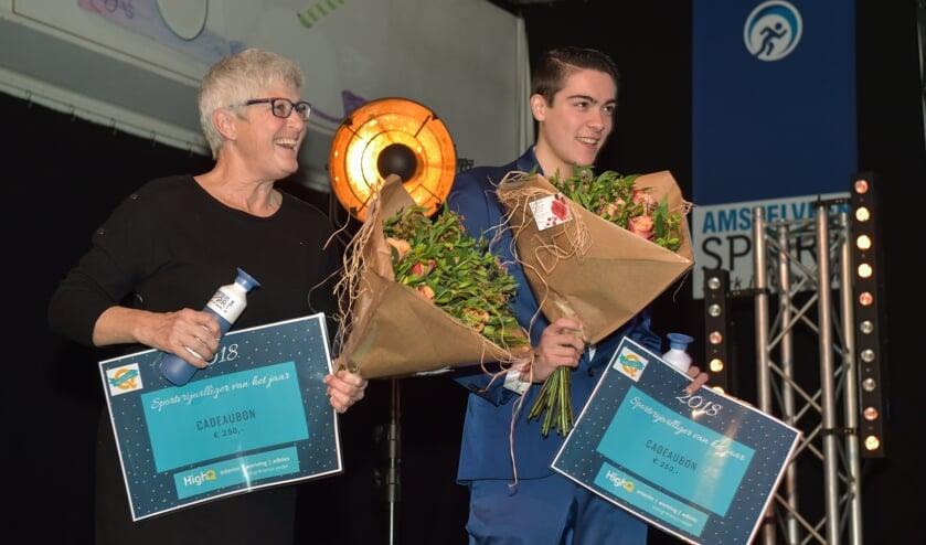 De winnaars van de Sportvrijwilligersprijs 2018: Jeanne Hogerwerf en Giovanni Raineri.