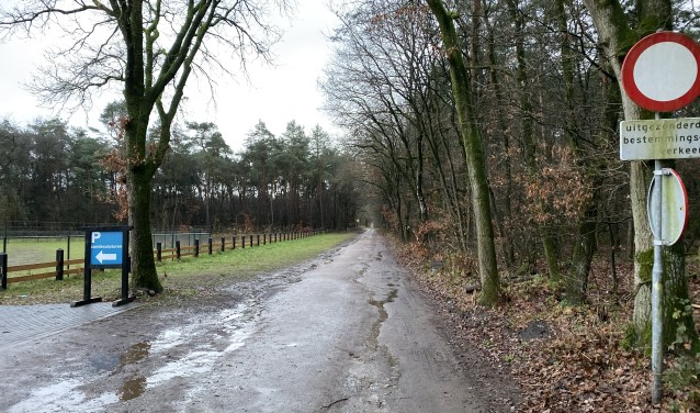 De  Oude Barnevelderweg met aan de linkerkant de groene strook waar nu commotie om is.
