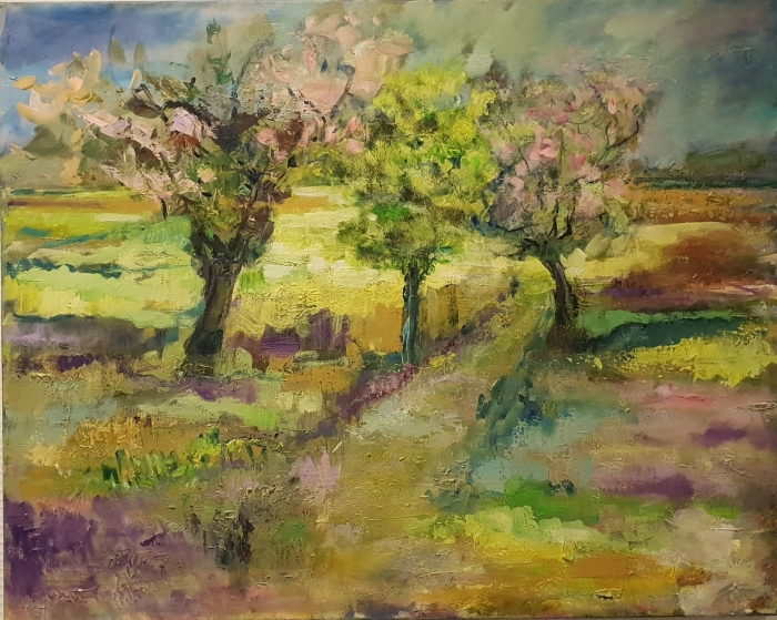 Landschap door Anne-Job Clements. Techniek: Acryl en olie