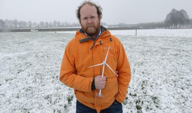 Ruben Berendts op locatie Windpark Goyerbrug. Volgens zijn planning kunnen de vier turbines in 2021 worden gebouwd.