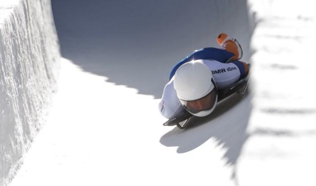 Kimberly Bos tijdens het WK voor vrouwen in Sankt Moritz Zwitserland in op 25 januari.