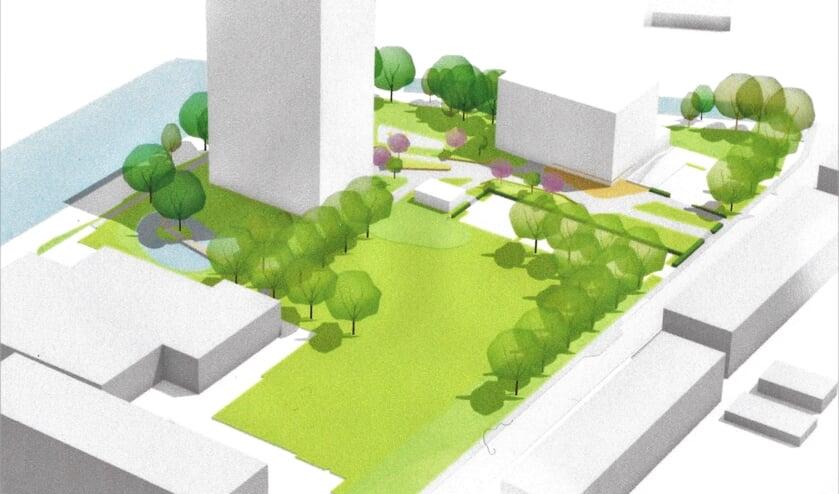 Een ontwerp van de woonwijk in Liendert.