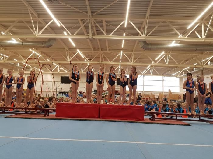 Het team van Annalisa, Isabella, Maaike, Madelief, Jennah en Joëlle enorm blij en verrast met hun behaalde gouden medaille