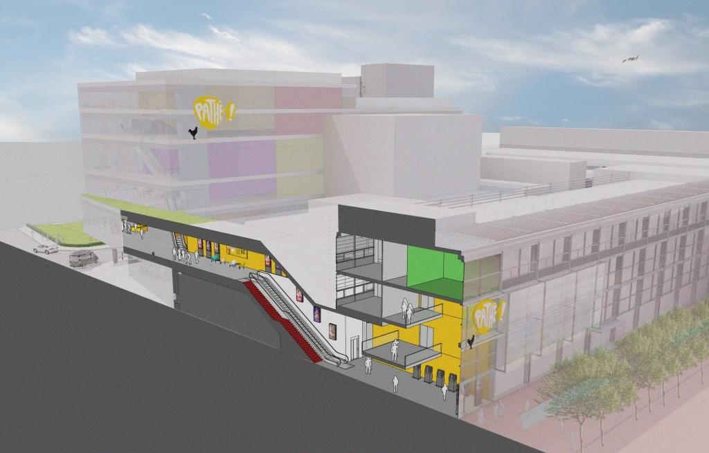 De toegang tot de bioscoop komt op de plek van Platform C aan het Stadsplein. Pathé © BDU media