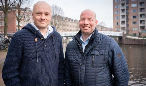 Lijsttrekker Sander Mager van Water Natuurlijk (rechts) met lijstduwer Boris van der Ham.