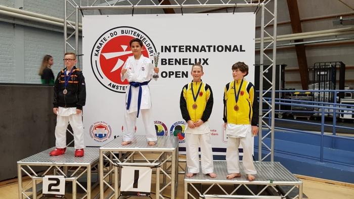 3e Plaats Jurre de Waart en Luwe Kamminga U12 -40 kg PR Kenamju Karate © BDU media