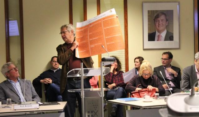 Eric-Jan Tuininga (Van Onder Op) biedt het manifest aan de Leusdense gemeenteraad aan.