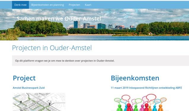 Homepage van de site Samen maken we Ouder-Amstel.