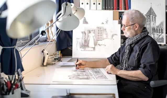 Jan Vosman is tekenaar. Hij liet hij het lesgeven achter zich om zich volledig te storten op zijn tekenwerk.