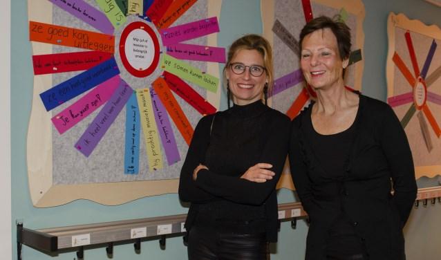 Eline Dekker en Lieke Becht in de hal voor het 'verkeersbord'