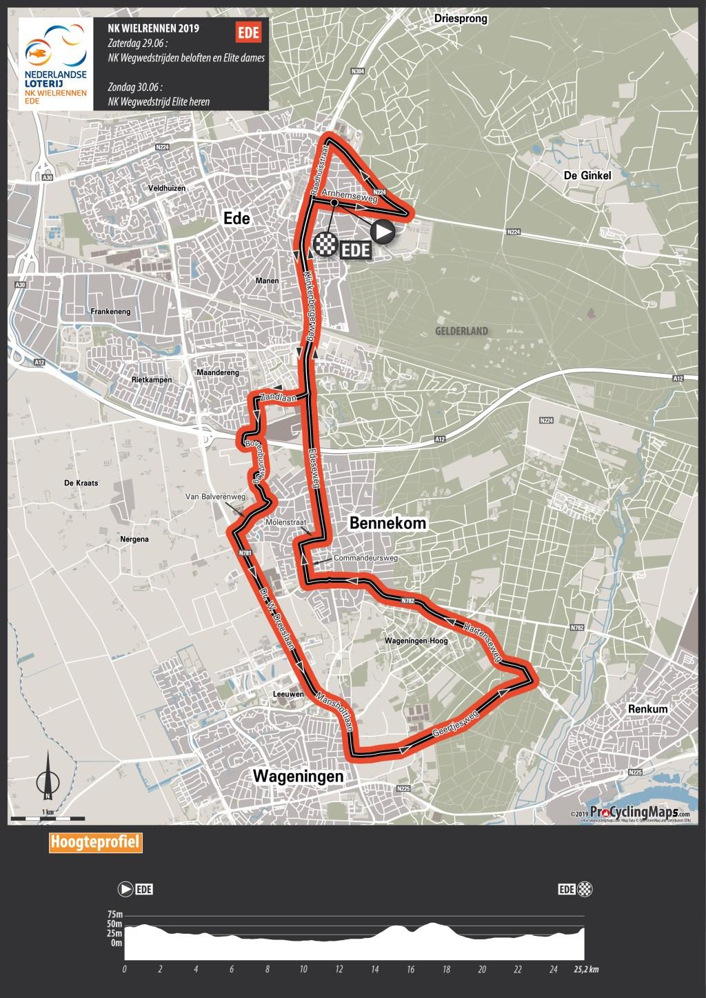 Het parcours van de wegwedstrijd van het NK Wielrennen in Ede.