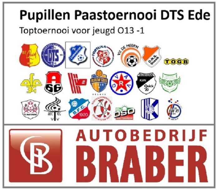 DTS Ede organiseert op 22 april 2019, tweede Paasdag, voor de 52e keer een pupillen Paastoernooi voor de O13-1 elftallen.